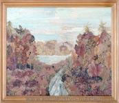 """Флористическая картина """"Осенний лес"""" из сухих листьев."""