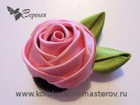 Розы из лент-мастер класс