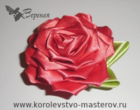 Канзаши роза из атласной ленты