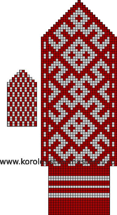 Схема вязания спицами варежек